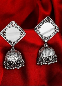 Ear Rings Kundan in Silver
