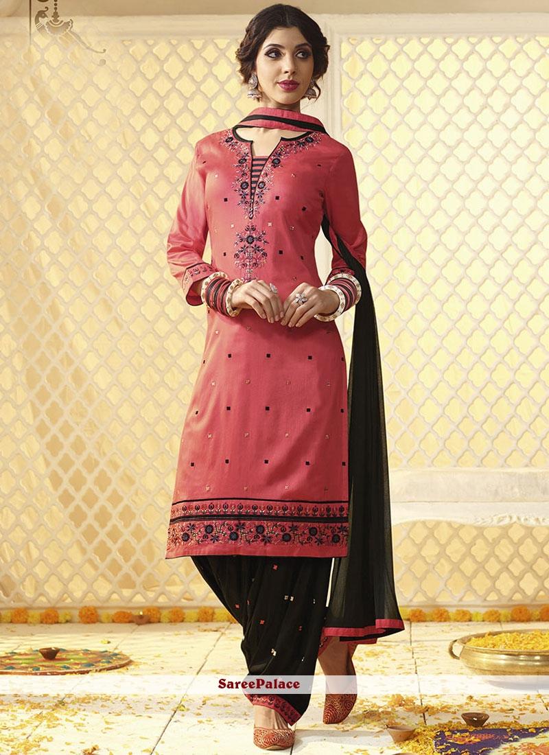 0a9db3a8b5 Buy Elegant Cotton Satin Pink Embroidered Work Punjabi Suit Online