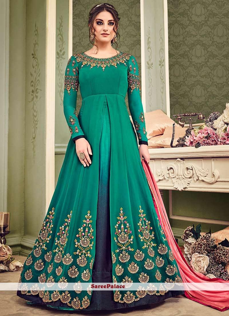 Buy Elegant Resham Work Faux Georgette Floor Length Anarkali Suit Online