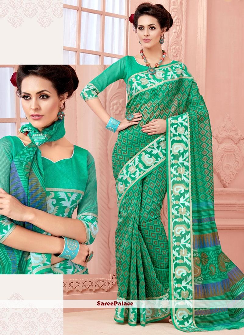 Elegant Sea Green Print Work Cotton   Casual Saree
