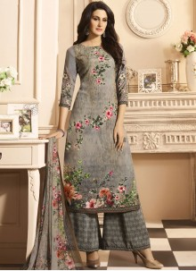 Elite Faux Crepe Multi Colour Print Work Designer Palazzo Suit