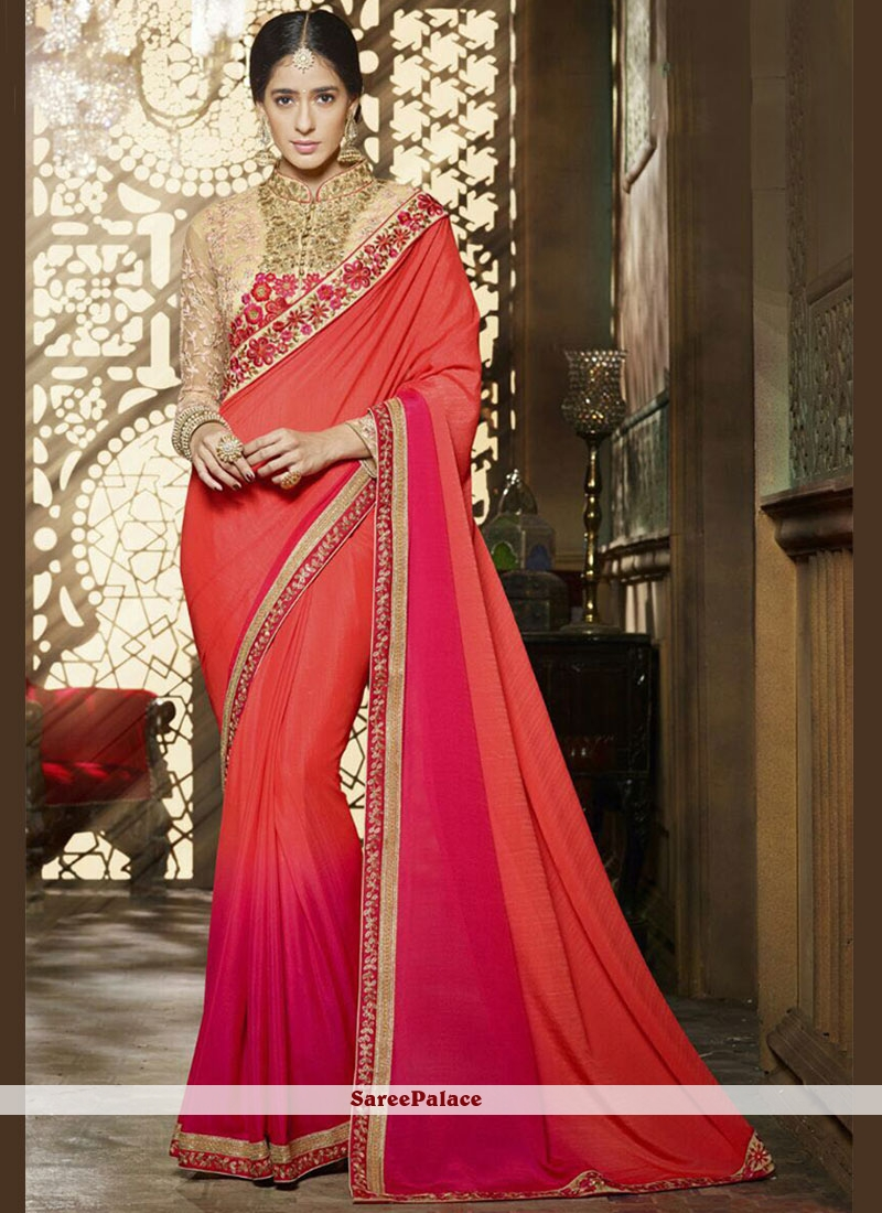 Elite Hot Pink and Orange Chiffon Satin Shaded Saree