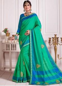 Embroidered Aqua Blue and Green Poly Silk Classic Designer Saree