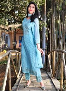 Embroidered Aqua Blue Art Silk Readymade Suit