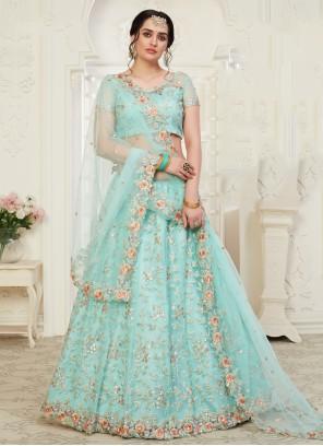 Embroidered Aqua Blue Banglori Silk Designer Lehenga Choli
