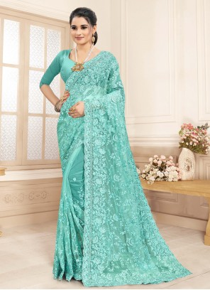 Embroidered Aqua Blue Bollywood Saree