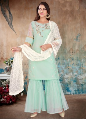 Embroidered Aqua Blue Chanderi Readymade Suit