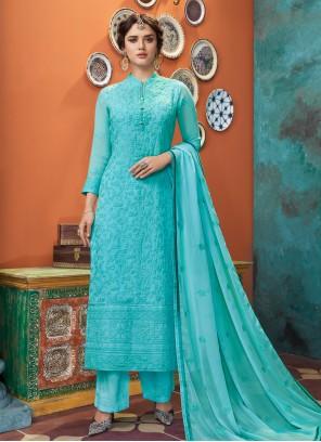 Embroidered Aqua Blue Designer Straight Suit