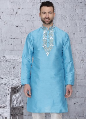Embroidered Art Dupion Silk Kurta in Aqua Blue