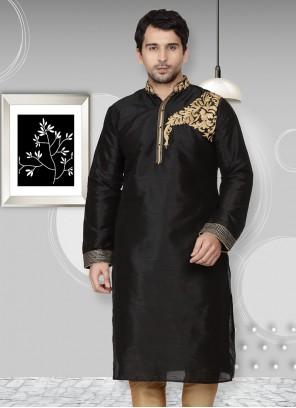 Embroidered Art Dupion Silk Kurta in Black
