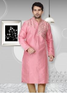 Embroidered Art Dupion Silk Kurta in Pink