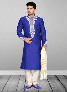 Embroidered Art Dupion Silk Kurta Pyjama in Blue