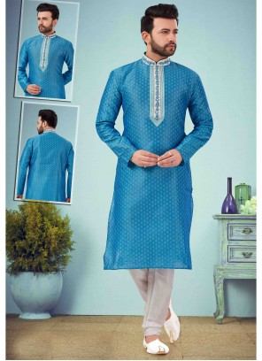 Embroidered Art Dupion Silk Kurta Pyjama in Blue