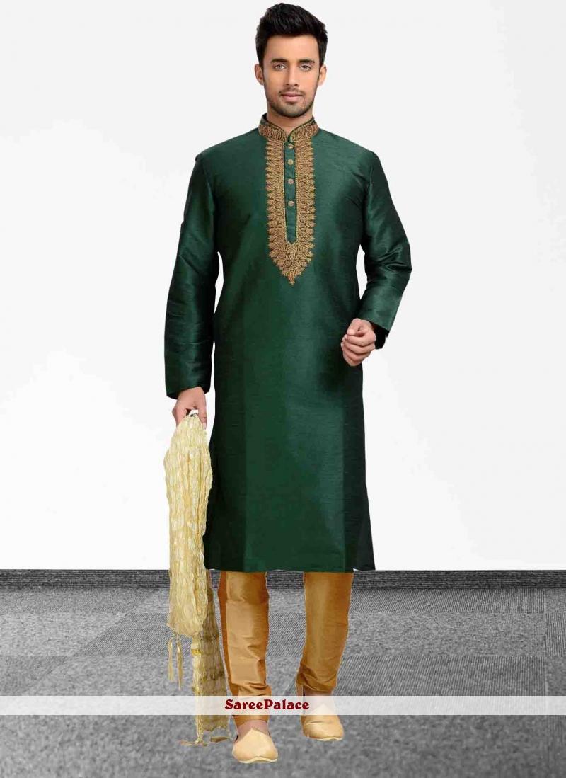 Embroidered Art Dupion Silk Kurta Pyjama in Green