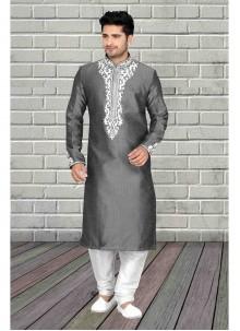 Embroidered Art Dupion Silk Kurta Pyjama in Grey