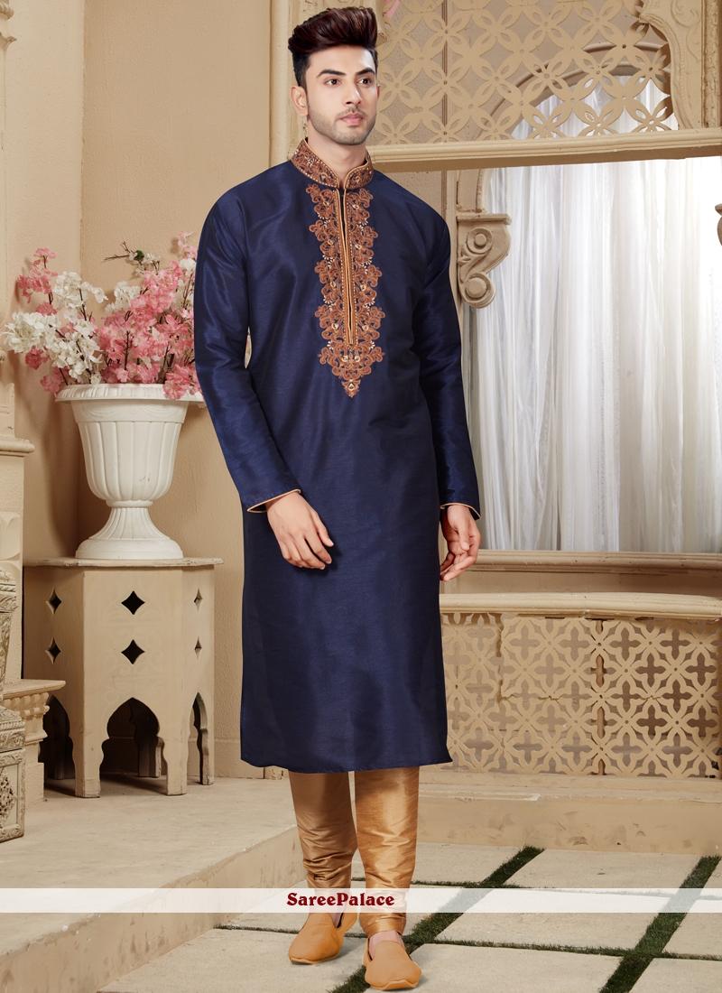 Embroidered Art Dupion Silk Kurta Pyjama in Navy Blue