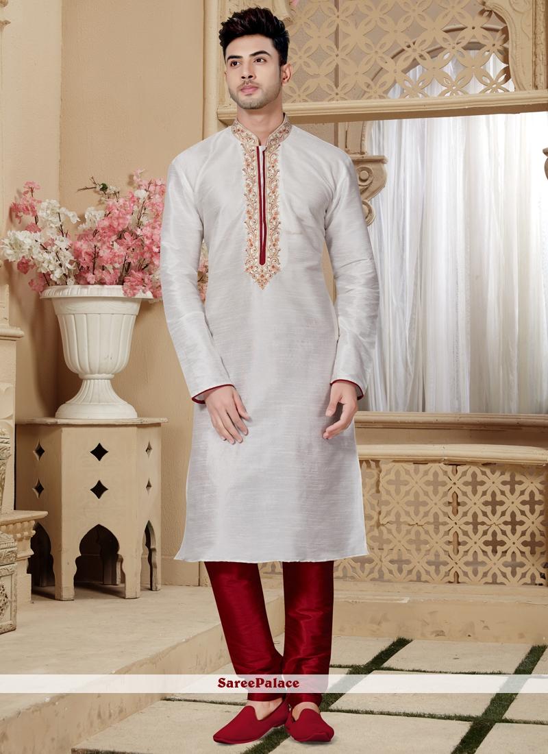 Embroidered Art Dupion Silk Kurta Pyjama in Off White