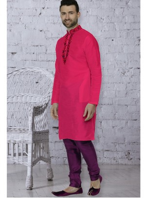 Embroidered Art Dupion Silk Kurta Pyjama in Pink