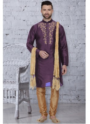 Embroidered Art Dupion Silk Kurta Pyjama in Purple