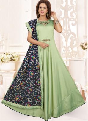 Embroidered Art Silk Anarkali Salwar Suit in Green