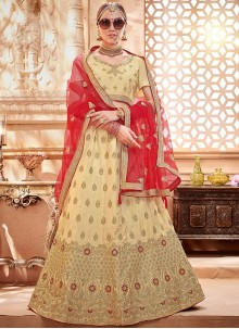 Embroidered Art Silk Beige Lehenga Choli