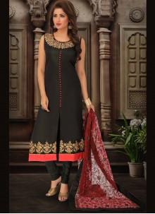 Embroidered Art Silk Bollywood Salwar Kameez in Black