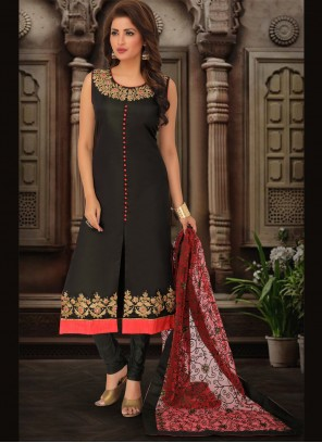 Embroidered Art Silk Bollywood Salwar Kameez in Black