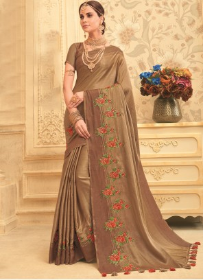Embroidered Art Silk Brown Designer Traditional Saree