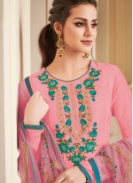 Embroidered Art Silk Churidar Designer Suit in Pink