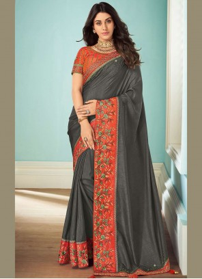 Embroidered Art Silk Classic Saree in Grey