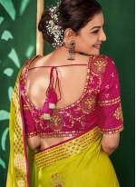 Embroidered Art Silk Contemporary Saree in Green