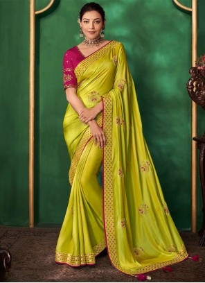 Embroidered Art Silk Contemporary Saree in Green