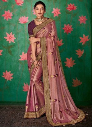 Embroidered Art Silk Contemporary Saree in Pink