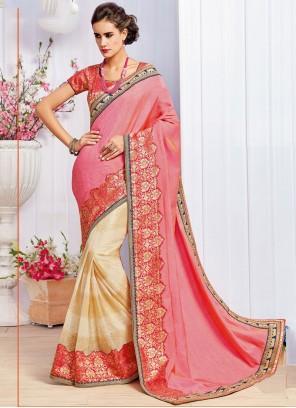 Embroidered Art Silk Designer Half N Half Saree in Cream and Pink