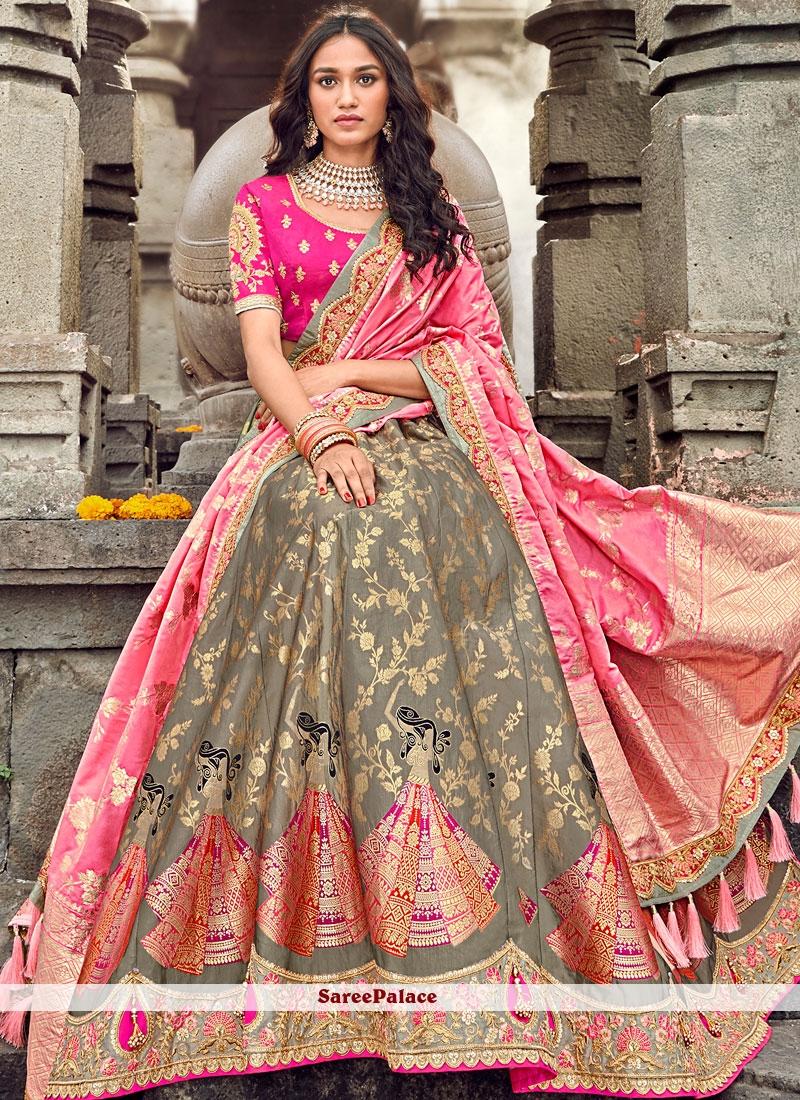 Embroidered Art Silk Designer Lehenga Choli in Brown
