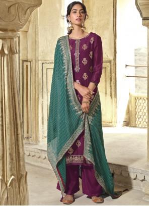 Embroidered Art Silk Wine Designer Pakistani Suit