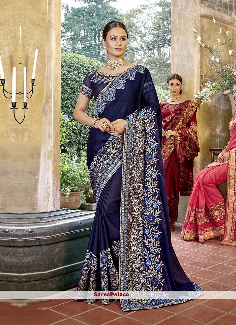 c091e7788a Buy Embroidered Art Silk Designer Saree in Blue Online