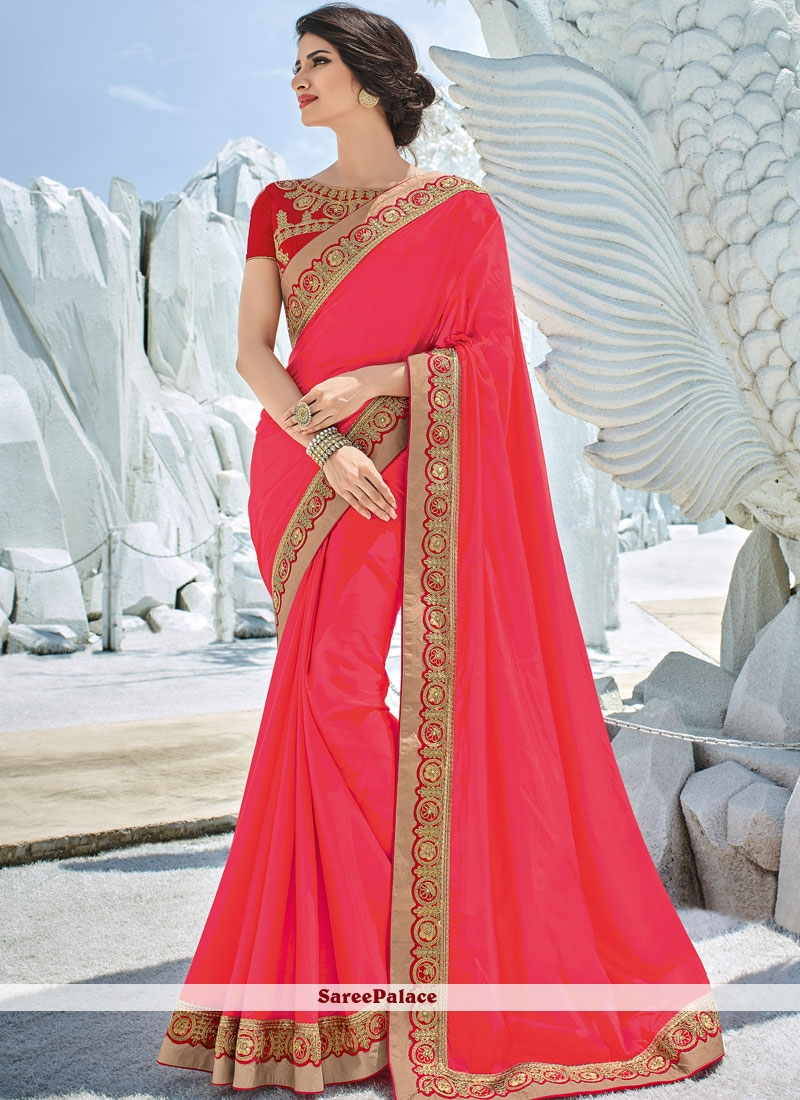 Embroidered Art Silk Designer Traditional Saree in Hot Pink
