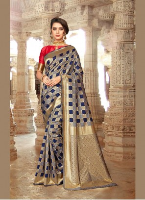Embroidered Art Silk Designer Traditional Saree in Pink