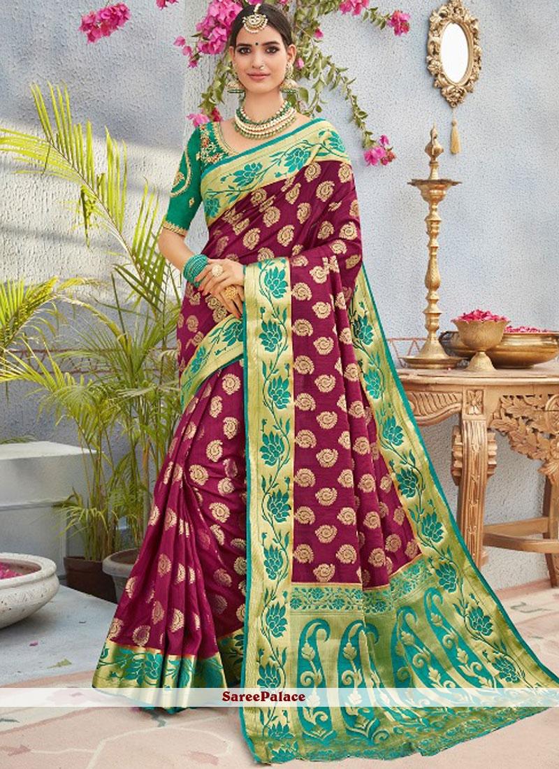 Embroidered Art Silk Designer Traditional Saree in Wine