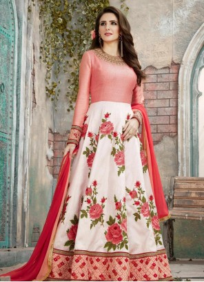 Embroidered Art Silk Floor Length Anarkali Suit in Red and White