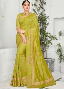 Embroidered Art Silk Green Saree