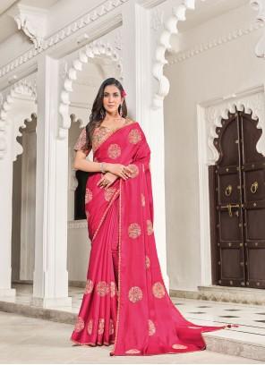 Embroidered Art Silk Hot Pink Designer Traditional Saree