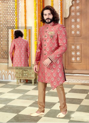 Embroidered Art Silk Indo Western in Pink