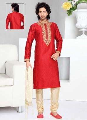 Embroidered Art Silk Kurta Pyjama in Red