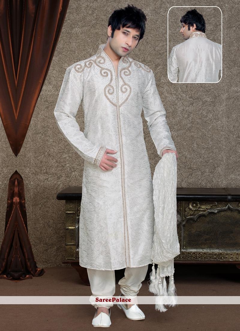 Embroidered Art Silk Kurta Pyjama in White