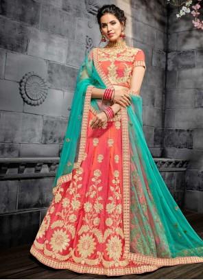 Embroidered Art Silk Lehenga Choli in Rose Pink