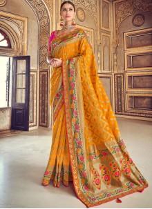 Embroidered Art Silk Mustard Designer Traditional Saree