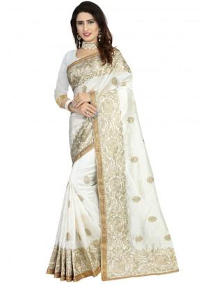 Embroidered Art Silk Off White Classic Designer Saree