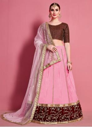 Embroidered Art Silk Pink A Line Lehenga Choli